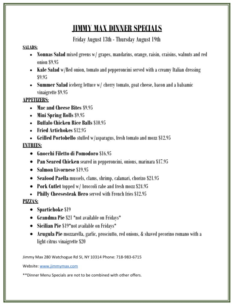 Jimmy Max Weekly Dinner Specials
