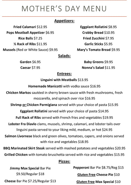 Jimmy Max Restaurant Mother's Day Menu 2019