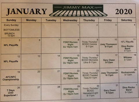 Jimmy Max Calendar of Events