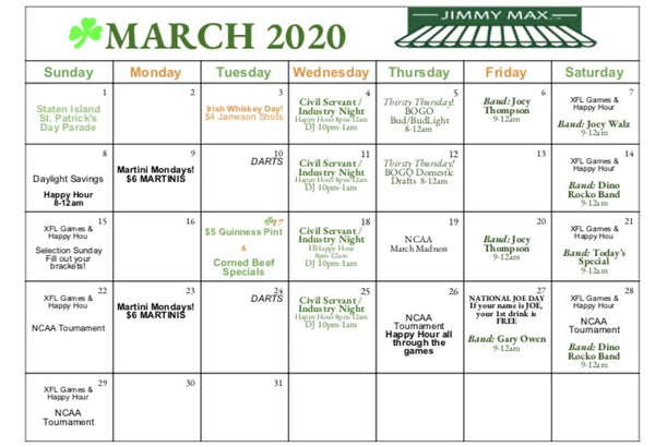 Jimmy Max March Calendar of Events