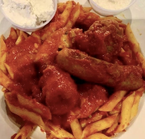 Penne Pasta Gravy Meatball and Sausage