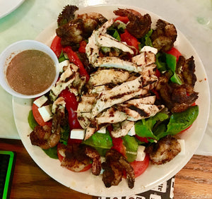 Baby Greens Salad Grilled Chicken & Shrimp