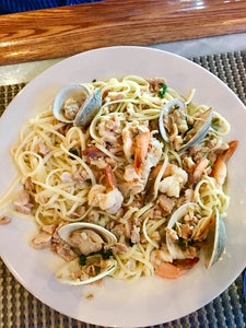 Linguini with Clam Sauce and Shrimp