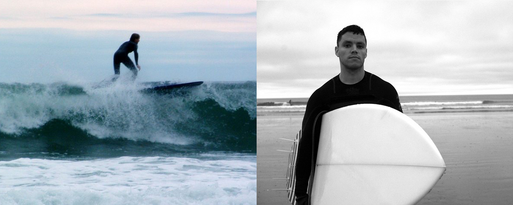 female new england surfer in the water and male surfer on the beach with a surfboard