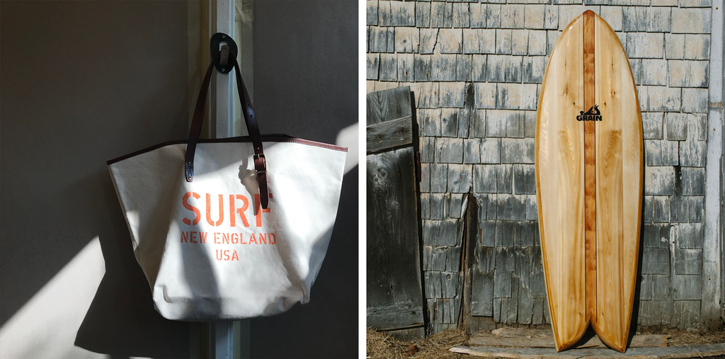 paul's pick: surf new england beach tote bag and grain surfboard