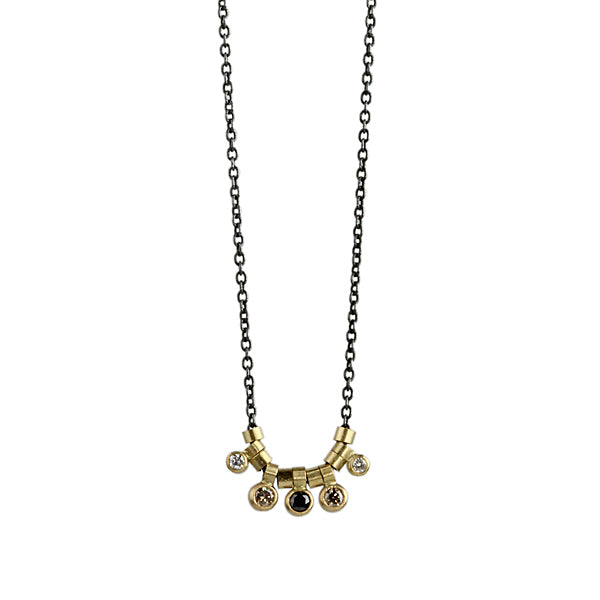 diamond multi-bezel necklace