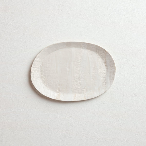 layered oval platter with rim