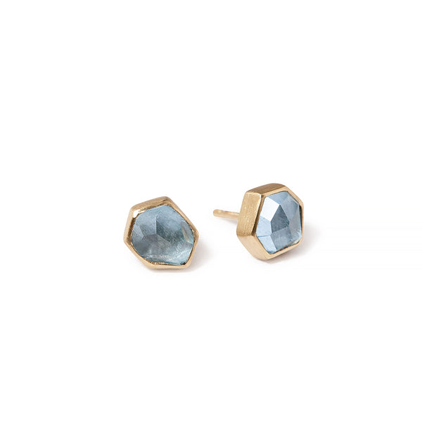 NEW | aquamarine angular studs