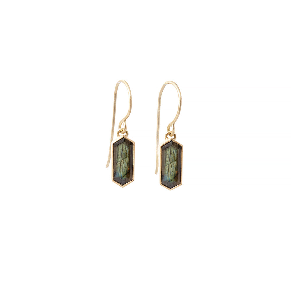 elongated labradorite hexagon earring