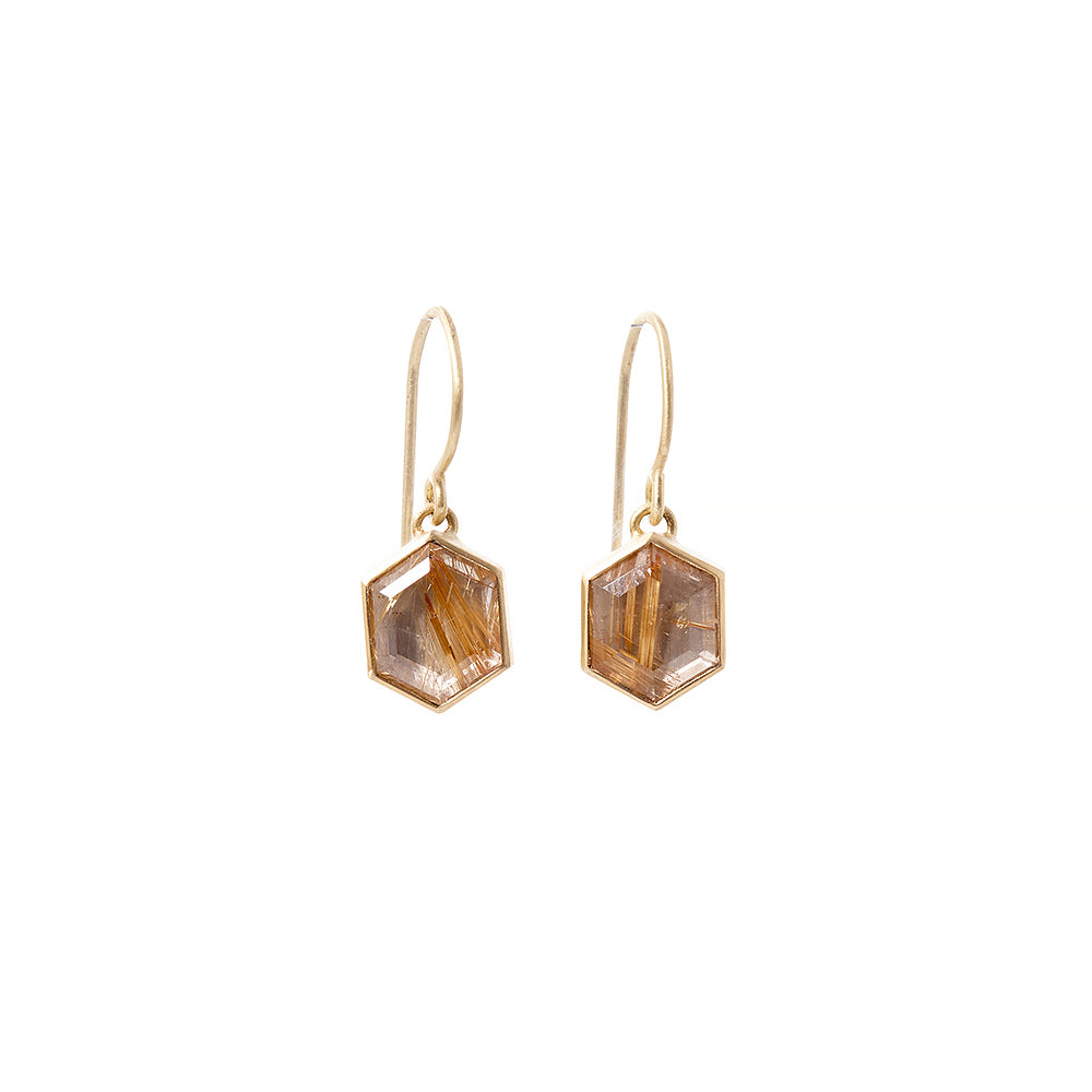 hexagon rutilated quartz earrings