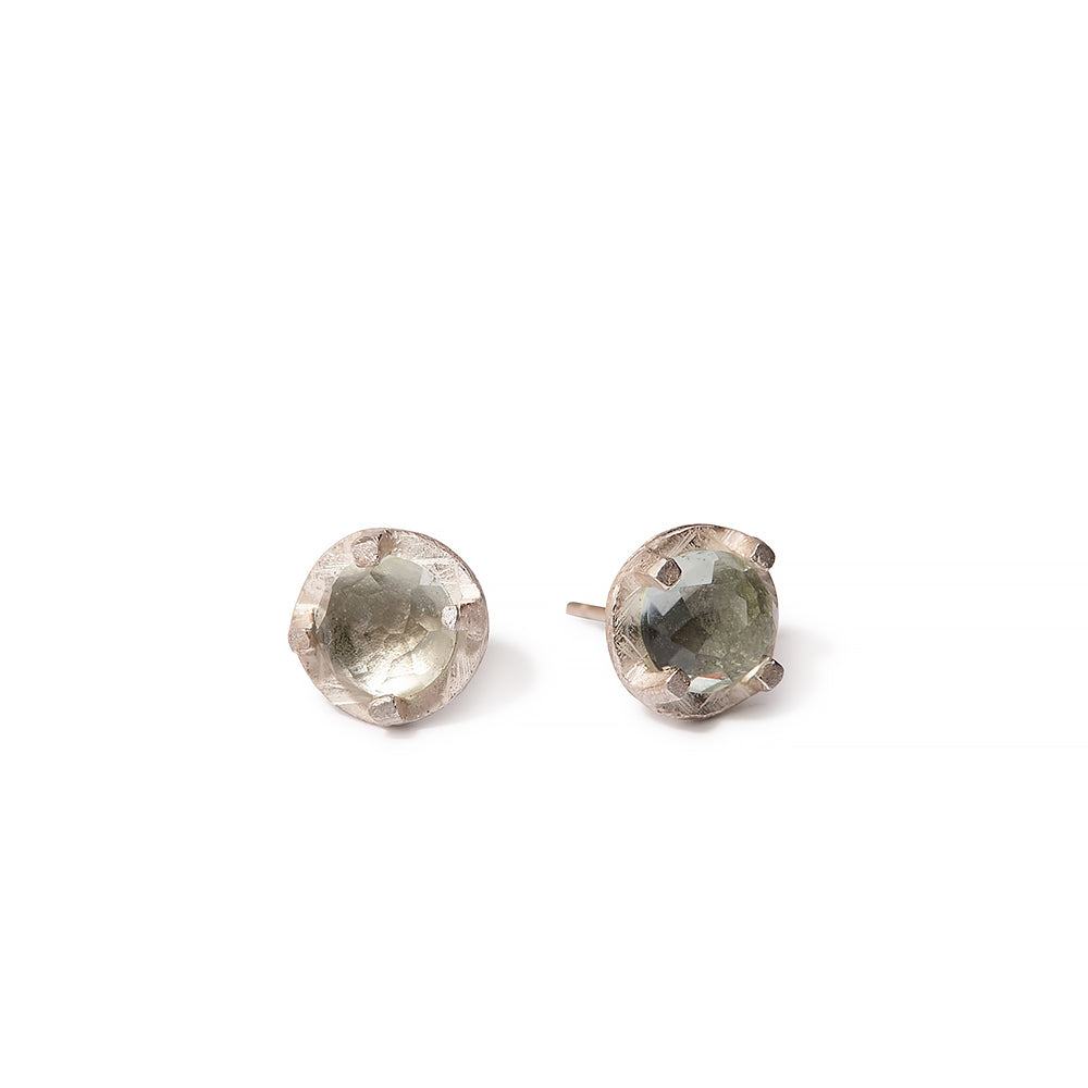faceted prong set studs