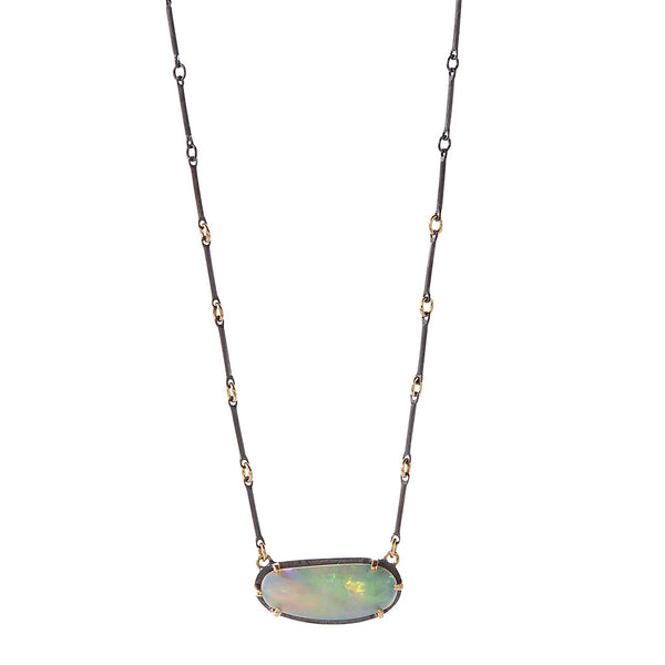 large opal prong set necklace