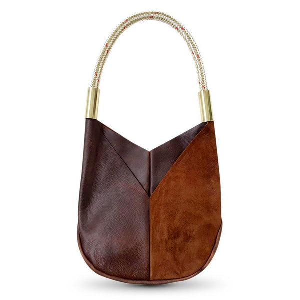 leather tote with gold dock line