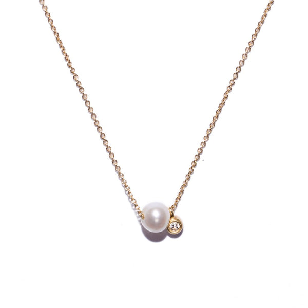 dainty pearl + diamond necklace