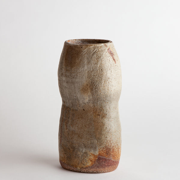wood-fired stoneware vase