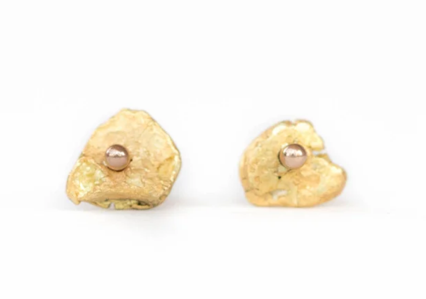 raw gold nugget studs