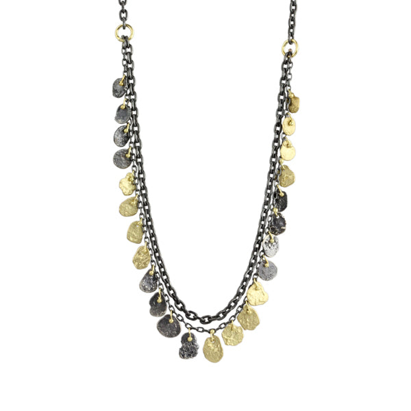 two tone kelp double chain necklace