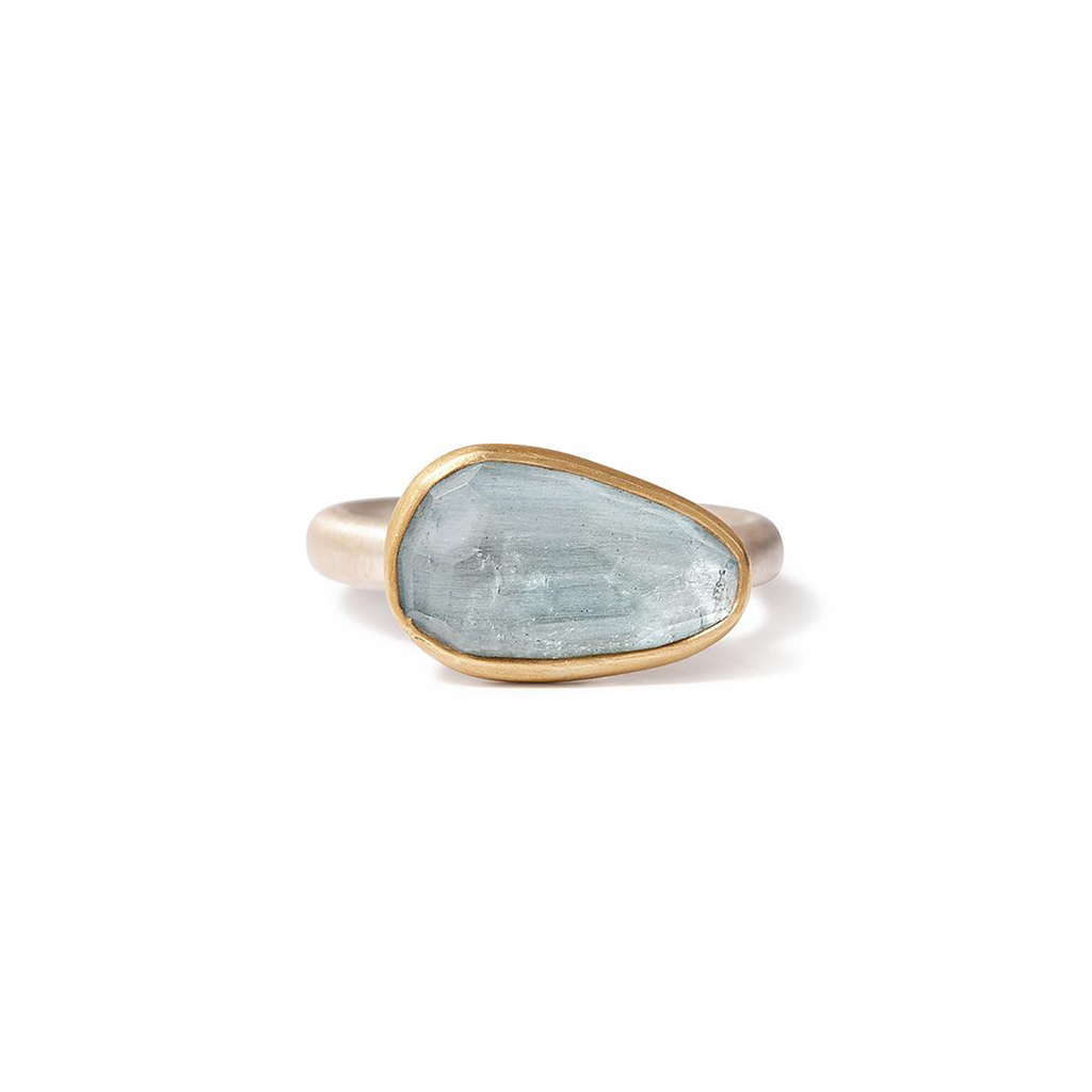 One-of-a-kind rosecut apatite ring with sterling silver band and 22K gold bezel setting