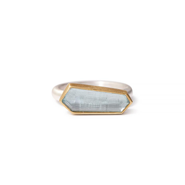 One-of-a-kind beryl ring with sterling silver band and 18K gold bezel setting