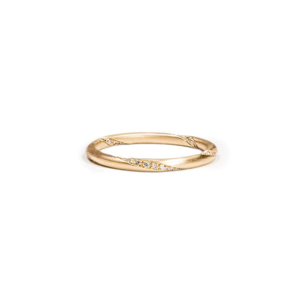 Carla Caruso perfectly round diamond swirl band micro-pavéd with 47 diamonds in 14k gold