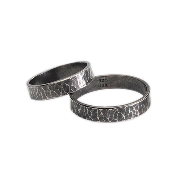 Danielle Gerger | DMG Designs hand-forged sterling silver bands, oxidized to enhance contrast of hammer marks