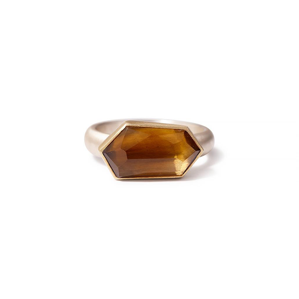 Heather Guidero one-of-a-kind geometric citrine ring with sterling band and 18K gold bezel setting