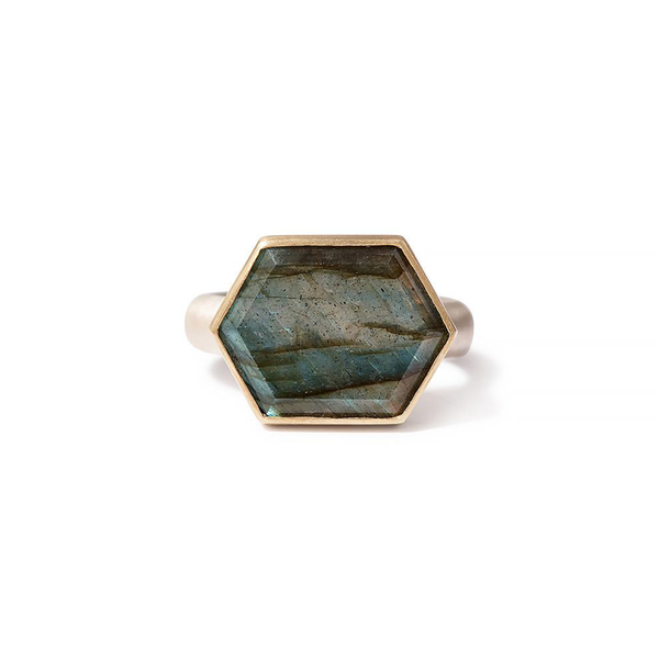 Heather Guidero one-of-a-kind elongated labradorite ring with sterling silver band and 18K gold bezel setting