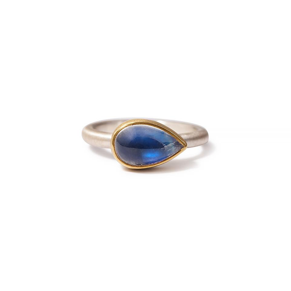 Heather Guidero one-of-a-kind rainbow moonstone ring with sterling silver band and 18K gold bezel setting