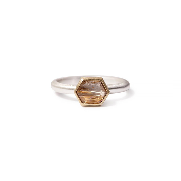 Heather Guidero one-of-a-kind rose cut rutilated quartz ring with sterling silver band and 18K gold bezel setting