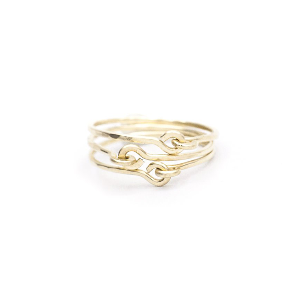 Mary Macgill simple 14K gold hammered stacking rings with signature loop detail