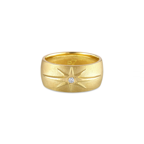 Pamela Zomore hand-finished 18K yellow gold diamond ring with starburst