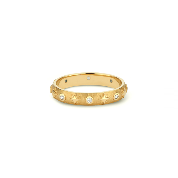 Pamela Zamore 18k yellow gold modern heirloom diamond ring with stars