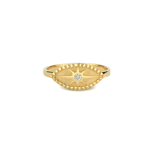 Pamela Zamore 18k gold modern heirloom diamond ring with starburst