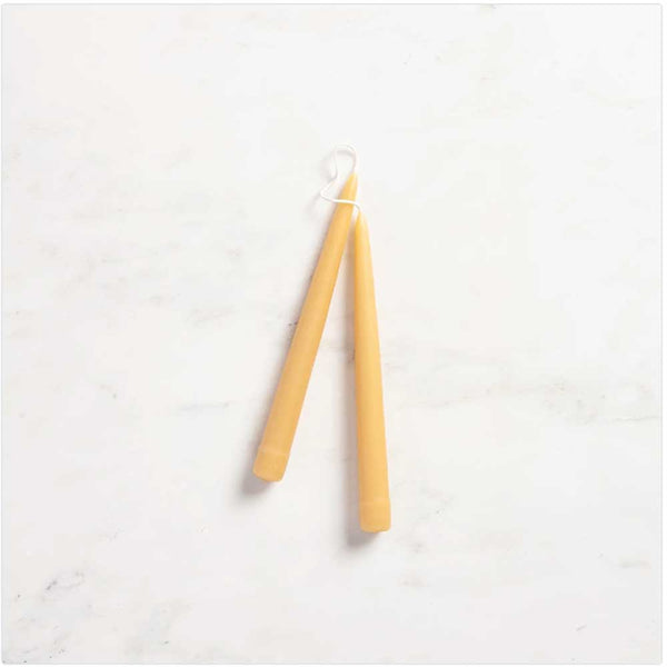 hand-dipped beeswax taper candles