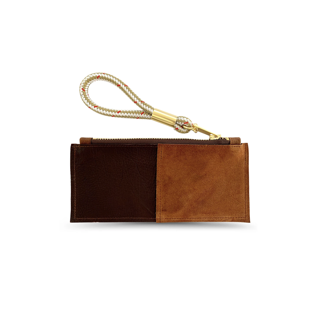 leather clutch with gold rope wristlet