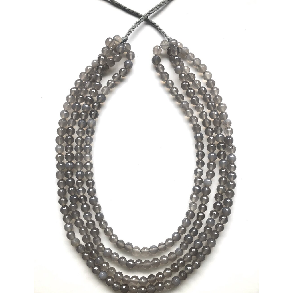 ann lightfoot 4 strand faceted grey onyx necklace with adjustable braided grey nylon ties
