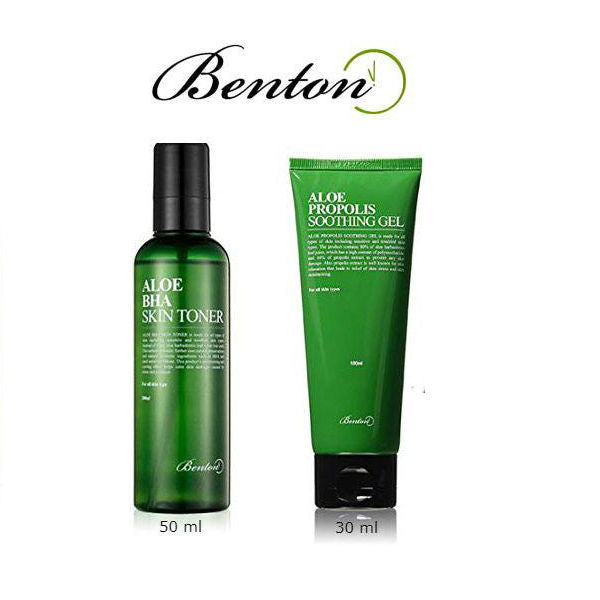BENTON Aloe Trial Set Aloe BHA Skin Toner 50ml + Aloe Propolis Soothing Gel 30ml