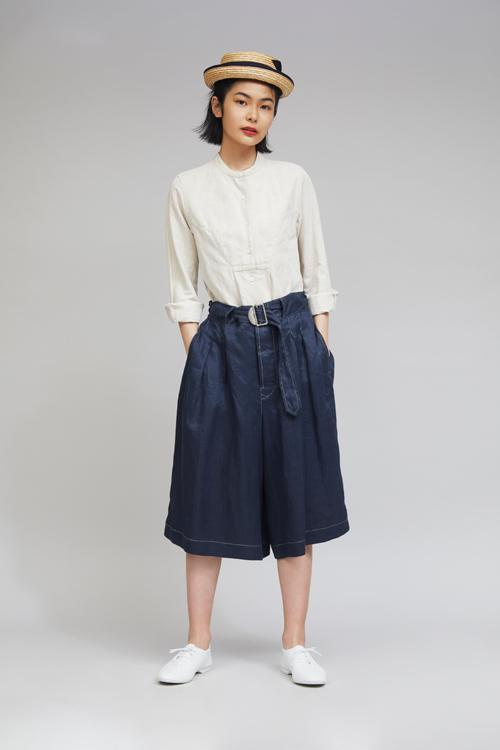 Nigel Cabourn WOMAN - MECHANIC GATHERED CULOTTES - LINEN
