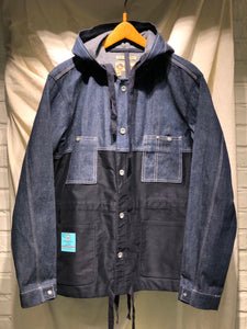 Nigel Cabourn - LYBRO HOODED CHORE JACKET SPLIT - BLACK NAVY