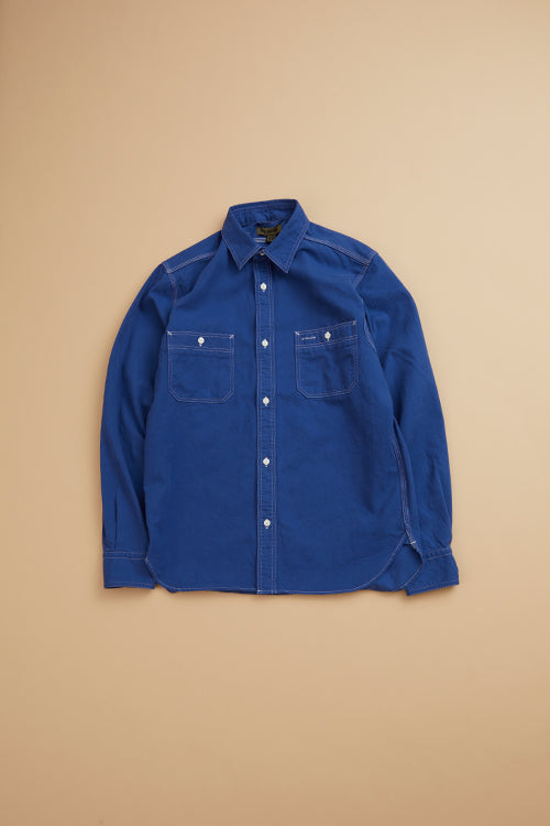 Nigel Cabourn - MAIN LINE 50'S MEDICAL SHIRT COTTON TWILL - BLUE