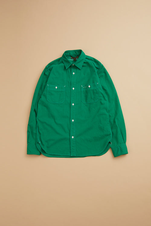 Nigel Cabourn - MAIN LINE 50'S MEDICAL SHIRT COTTON TWILL - GREEN