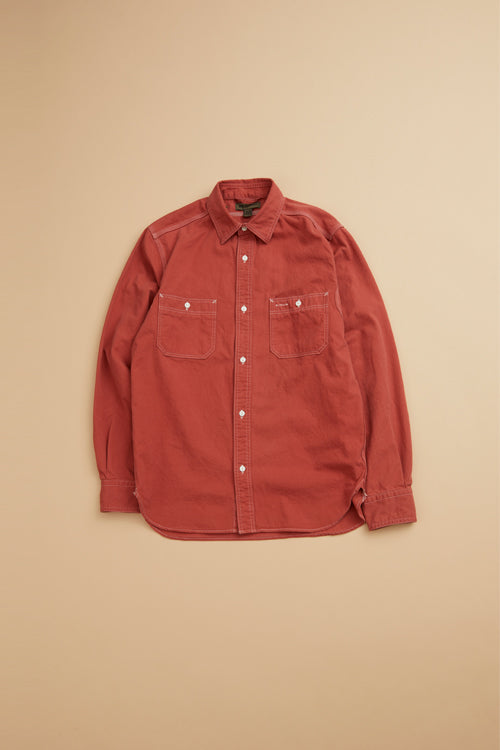 Nigel Cabourn - MAIN LINE 50'S MEDICAL SHIRT COTTON TWILL RED