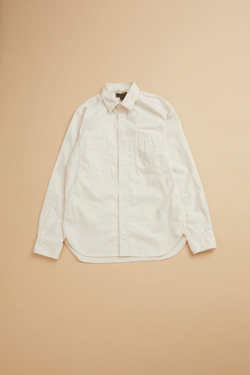 Nigel Cabourn - MAIN LINE 50'S MEDICAL SHIRT COTTON TWILL - OFF WHITE