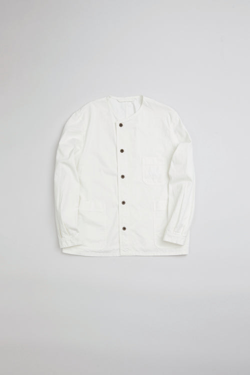 Nigel Cabourn - FRENCH WORK NO COLLAR SHIRT - OFF WHITE