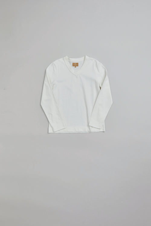 Nigel Cabourn WOMAN - V NECK TEE - LONG SLEEVE