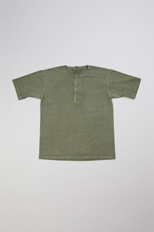 Nigel Cabourn - 50's HENLEY NECK SHIRT PIGMENT - GREEN