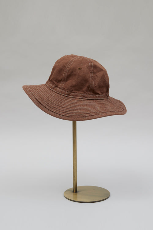 Nigel Cabourn - DECK HAT BROWN - COTTON LINEN DENIM FABRIC