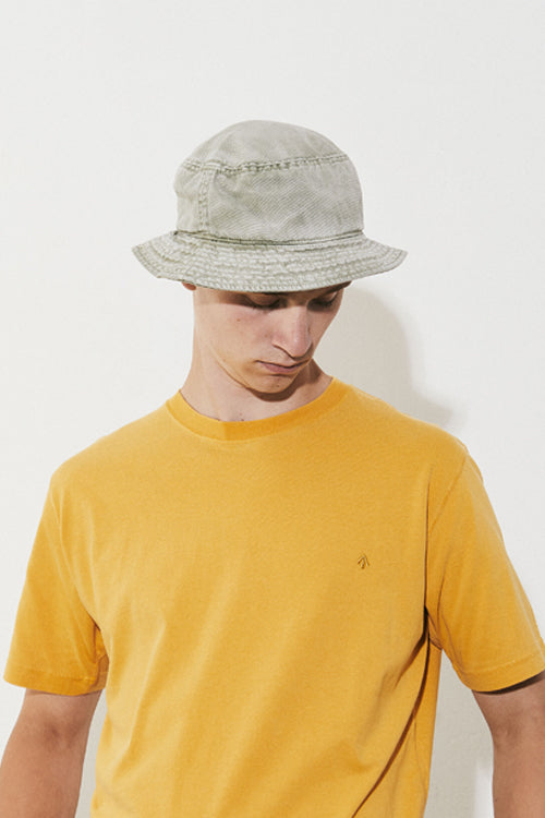 Nigel Cabourn LYBRO - BUCKET HAT IN WASHED ARMY - CANVAS+HERRINGBONE MIX