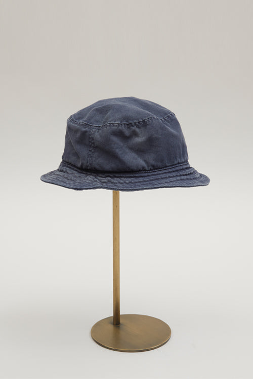 Nigel Cabourn LYBRO - BUCKET HAT IN BLACK NAVY - CANVAS+HERRINGBONE MIX