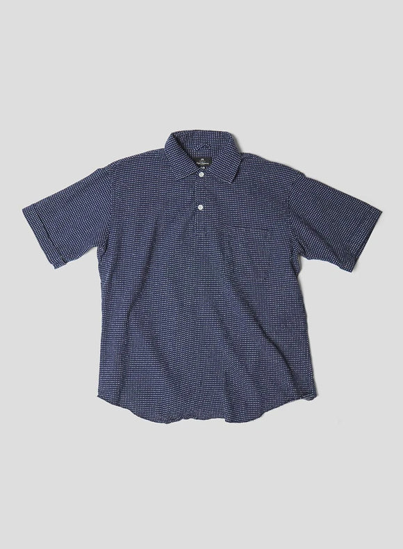 Nigel Cabourn - SHORT SLEEVE POH SHIRT IN NAVY & MULTI DOT - AUTHENTIC LINE